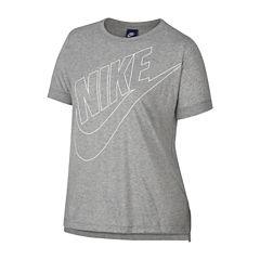 Nike Short Sleeve Crew Neck T-Shirt-Womens Plus