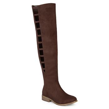 815b0356023 Journee Collection Womens Pitch Over the Knee Boots Block Heel Zip
