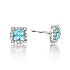 Cushion Blue Aquamarine Sterling Silver Stud Earrings