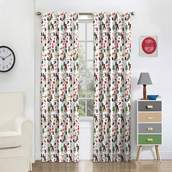 Eclipse Forest Friends Blackout Rod-Pocket Single Curtain Panel