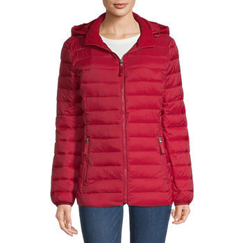 St. John's Bay Hooded Packable Lightweight Puffer Jacket
