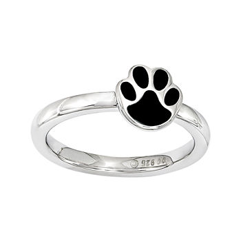 Personally Stackable Sterling Silver Black Enamel Paw Print Ring
