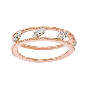 Personally Stackable Diamond-Accent 18K Rose Gold Over Sterling Silver Ring