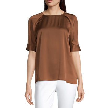 Worthington Womens Puffed Sleeve Top - Tall