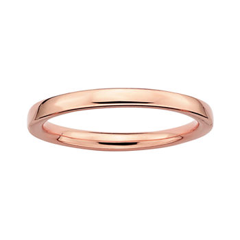 Personally Stackable 18K Rose Gold Over Sterling Silver 3.5mm Square-Edge Ring