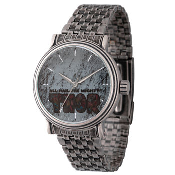 Marvel Mens Silver Tone Stainless Steel Strap Watch-Wma000197
