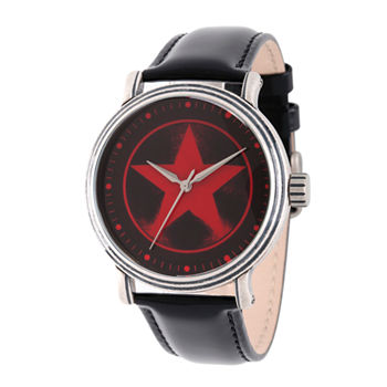 Marvel Avengers Mens Black Leather Strap Watch-Wma000207