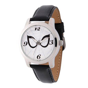 Marvel Marvel Mens Black Leather Strap Watch-Wma000212