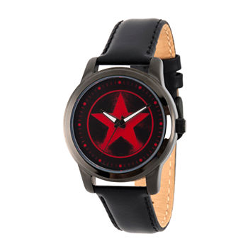 Marvel Avengers Mens Black Leather Strap Watch-Wma000217