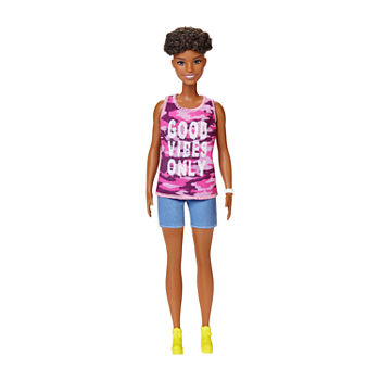 "Barbie Fashionista Doll With Short Curly Brunette Hiar And ""Good Vibes Only"" Camo Tank And Shorts"""