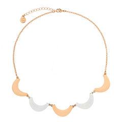 Liz Claiborne Collar Necklace Rose Goldtone Silvertone