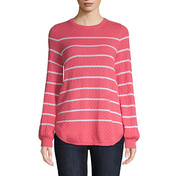 54d20dd41e743 St. John s Bay Womens Long Sleeve Open Front Stripe Cardigan. Add To Cart.  New. White Combo