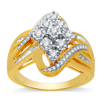 Womens 1/2 CT. T.W. Genuine Diamond 10K Gold Over Silver Cocktail Ring