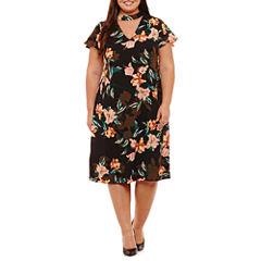 DR Collection Short Sleeve Sheath Dress-Plus
