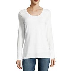 a.n.a Long Sleeve Crew Neck T-Shirt-Womens Talls