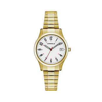 Caravelle Designed By Bulova Womens Gold Tone Stainless Steel Strap Watch-44m113
