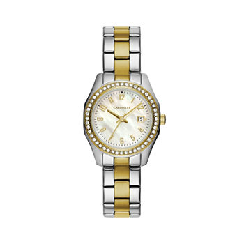 Caravelle Designed By Bulova Womens Crystal Accent Two Tone Stainless Steel Bracelet Watch - 45m113