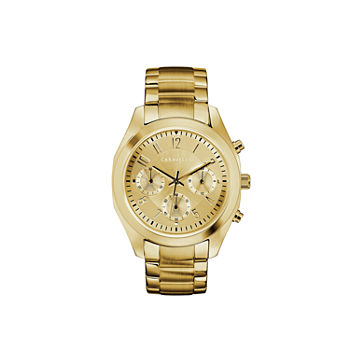 Caravelle Designed By Bulova Womens Crystal Accent Gold Tone Stainless Steel Bracelet Watch - 44l238