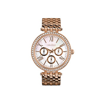 Caravelle Designed By Bulova Womens Crystal Accent Rose Goldtone Stainless Steel Bracelet Watch - 44n111