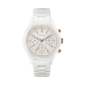 Caravelle Designed By Bulova Womens Chronograph White Strap Watch-45l174