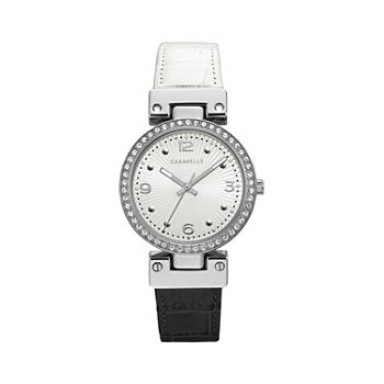 Caravelle Designed By Bulova Womens Crystal Accent Two Tone Leather Bracelet Watch - 43l208