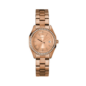 Caravelle Designed By Bulova Womens Crystal Accent Rose Goldtone Stainless Steel Bracelet Watch - 44m114