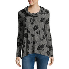 Alyx Long Sleeve Cowl Neck Knit Floral Blouse