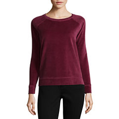 Liz Claiborne Long Sleeve Velour Sweatshirt