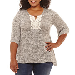 Unity World Wear 3/4 Flared Sleeve Embroidered Bib Blouse-Plus