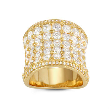 Womens White Cubic Zirconia 14K Gold Over Silver Cocktail Ring