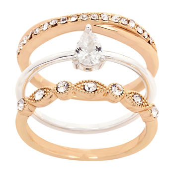 Sparkle Allure 3-pc. Cubic Zirconia Pear Stackable Ring