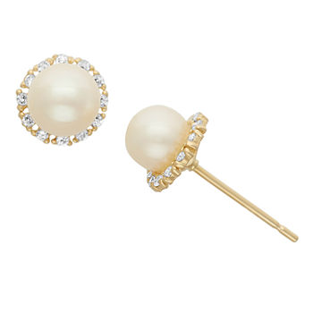 Genuines White Cultured Freshwater Pearl 14k Gold 7mm Stud Earrings