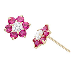 Round Red Cubic Zirconia 14K Gold Stud Earrings