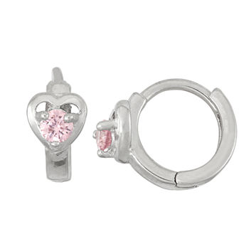 Pink Cubic Zirconia Sterling Silver 10.5mm Flower Hoop Earrings