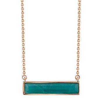 Footnotes Amazonite 18 Inch Cable Rectangular Pendant Necklace