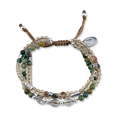 Footnotes Womens Green Silver Over Brass Beaded Bracelet
