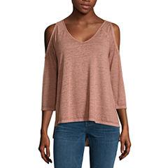 a.n.a 3/4 Sleeve V Neck T-Shirt-Womens Talls