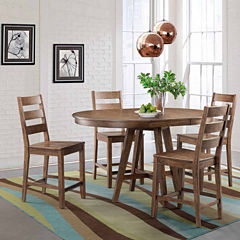 Dining Possibilities 5 Piece Round Counter Height Table With Ladder Back Stools