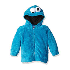 Sesame Street Toddler Girls Cookie Monster Costume Hoodie with Faux Fur and 3D Face