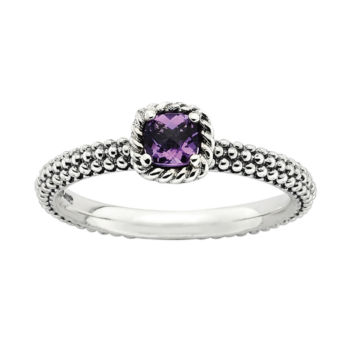 Fine Jewelry Personally Stackable Genuine Amethyst Oxidized Two-Tone Stackable Ring