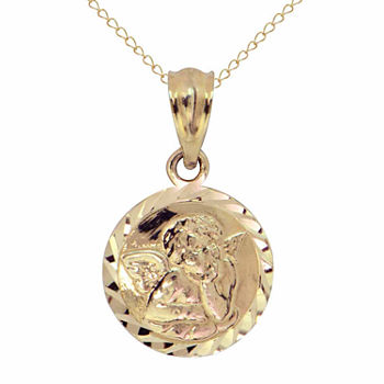 Womens 14K Gold Angel Pendant Necklace