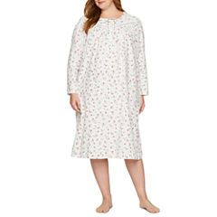 Adonna Flannel Long Sleeve Print Nightgown-Plus