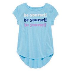 Okie Dokie Short Sleeve Crew Neck T-Shirt-Toddler Girls