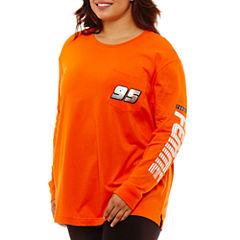 Flirtitude Racing Stripes Graphic T-Shirt- Juniors Plus