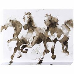 Decor Therapy Running Wild Horses Stretched Canvas