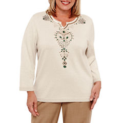 Alfred Dunner Emerald Isle 3/4 Sleeve Beaded Pullover Sweater-Plus