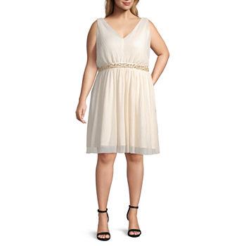 by&by-Juniors Plus Sleeveless Beaded Dress Set