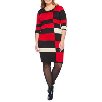 Danny & Nicole-Plus 3/4 Sleeve Sweater Dress