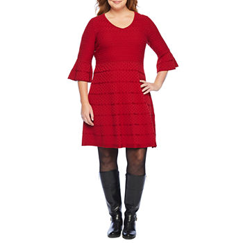Liz Claiborne-Plus 3/4 Sleeve Sweater Dress