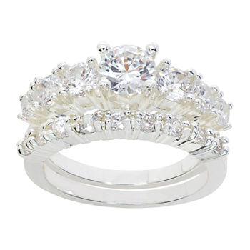 Sparkle Allure 2-pc. Cubic Zirconia Pure Silver Over Brass Ring Sets